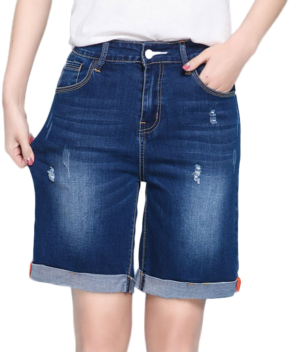 Innifer Women's Large Plus Size Knee-Length Stretch Denim Bermuda Shorts Jeans