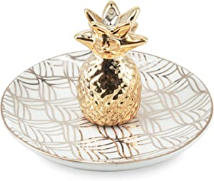 Limerence Pineapple Jewelry Holder Dish - Ceramic Ring Holder for Jewelry - Great Pineapple Gifts for Women, Girls - Unique Birthday or BFF Gifts for Pineapple Lovers