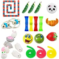 Kunshion 24 Pack Sensory Toys Bundle,Stress Relief Fidget Toys for ADD ADHD Anxiety,Mochi Squishy Toys/Slow Rising Squishies/Stretchy Strings/Squeeze Soybean/Fidget Chain/Emoji Stress Balls