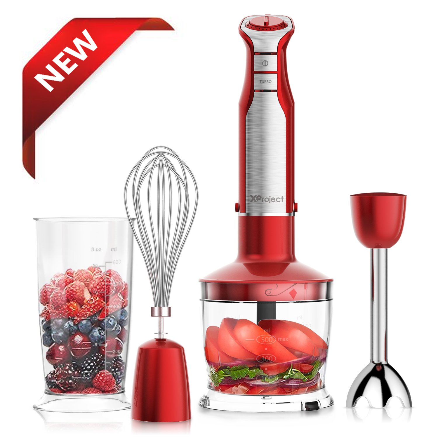 XProject HB-2042 I900075 800W 4-in-1 6 Speed,Powerful Immersion Hand Blender for Smoothies Baby Food Yogurt Sauces Soups, 232513cm, Red