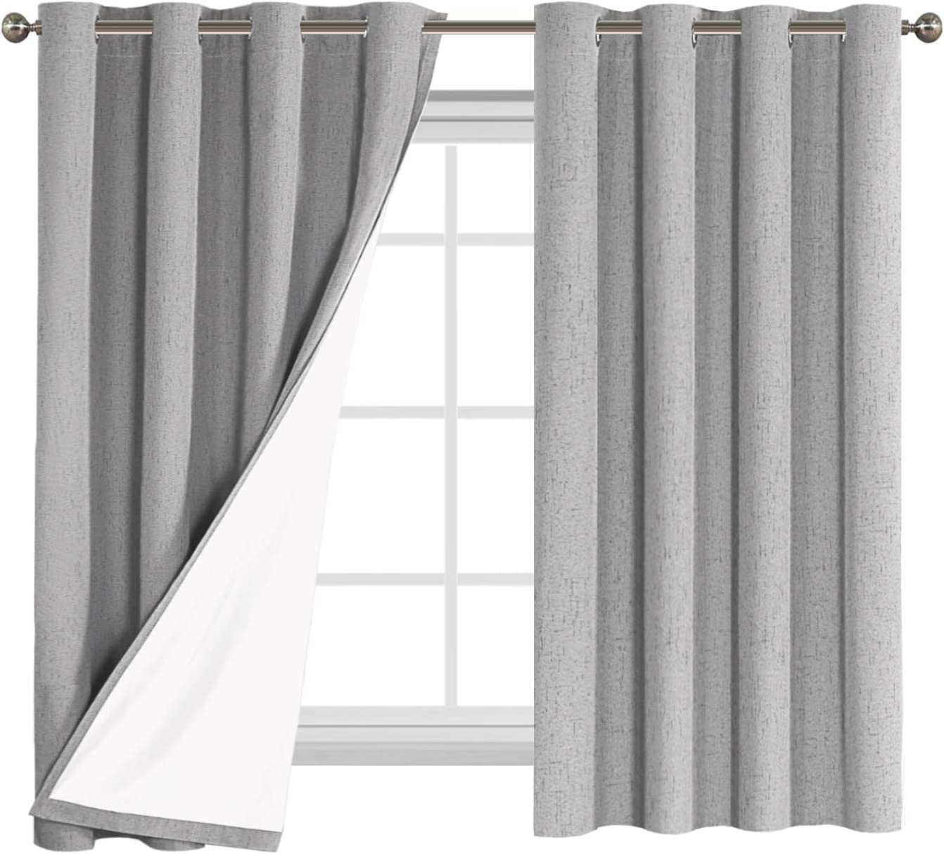 Flamingo P Textured Linen 100% Blackout Curtains 63 Inch Length 2 Panles Set Burlap Thermal Insulated Full Light Blocking Primitive Curtain Drapes Draperies for Bedroom, Dove with White Liner