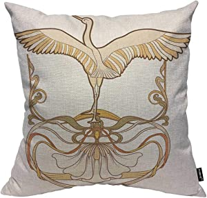 HOSNYE Bird Throw Pillow Cushion Covers Frame and Bird in Art Nouveau Style in Traditional Color Decorative Square Accent Pillow Case 18 x18 inch
