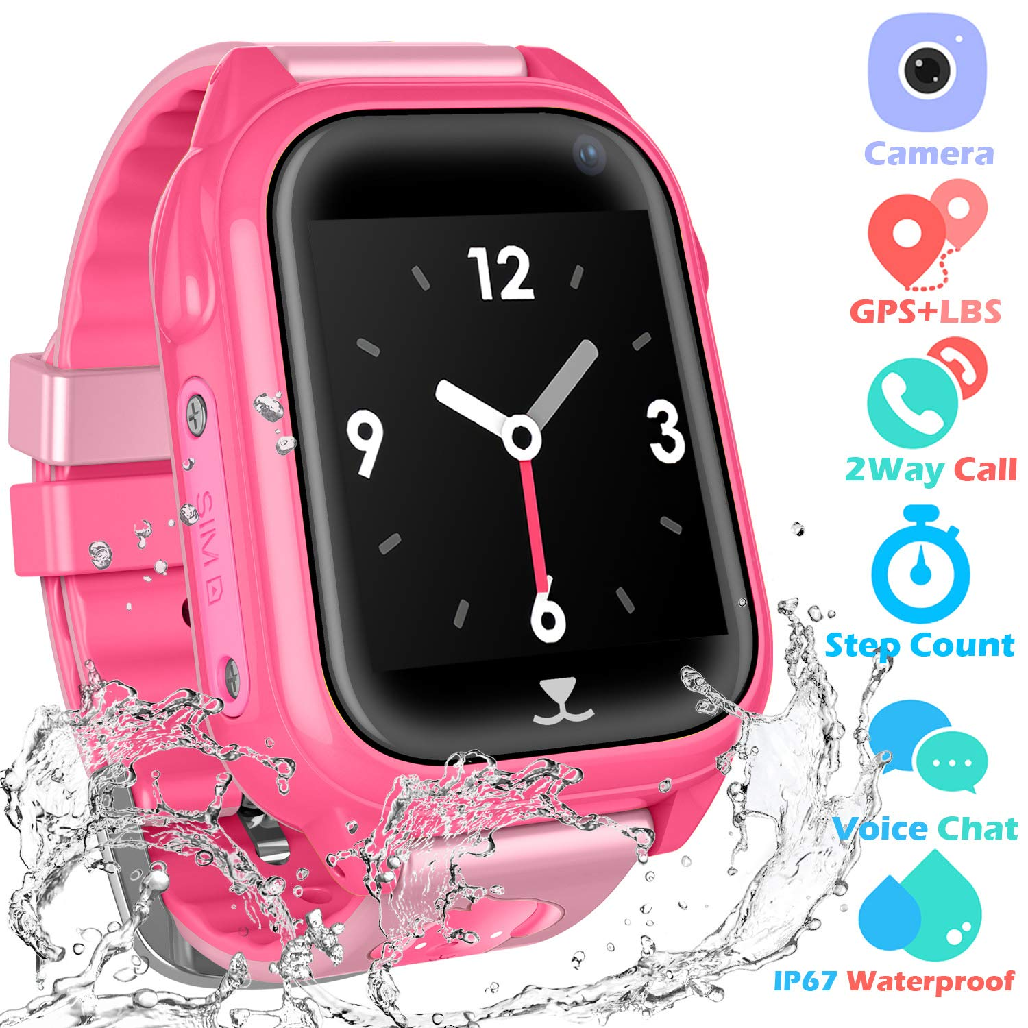 Kids Waterproof Smartwatch with GPS Tracker - Fitness Tracker Watch Phone with GPS Locator Voice Chat SOS Alarm Clock Camera Math Game Children ...