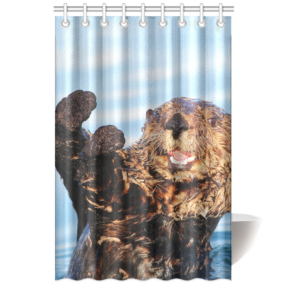 CTIGERS Animal Theme Shower Curtain for Kids Cute Otter Claping in the Water Polyester Fabric Bathroom Decoration 48 x 72 Inch