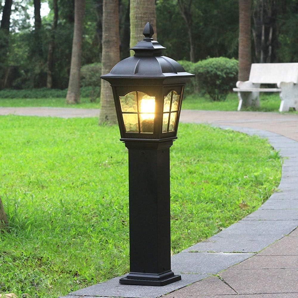 Antigua lámpara al aire libre Waylight Hierro fundido Bolardo negro Luces Arandelas de vidrio Retro/Vintage Luces de jardín E27 Impermeable IP44 Cubiertas de entrada Vías de iluminación, alto 84 cm