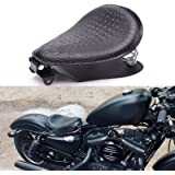 Rich Choices Black Crocodile Leather Solo Seat with Spring Bracket Kit for Harley Davidson Sportster XL 1200 883 48 Chopper B
