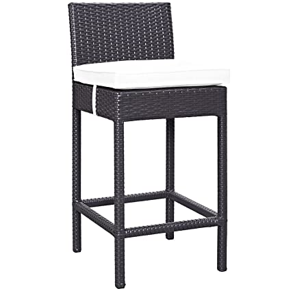 Modway Convene Wicker Rattan Outdoor Patio Bar Stool With Cushion In  Espresso White