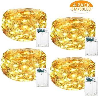 Cadena de Luces LED, 5m 50 LED Luces de Cadena Micro Luces de hadas LED Pilas Luces 4 Pack, Guirnalda Cadena de Luces para Decoración Interior Bodas Fiesta de Navidad (Blanco cálido):