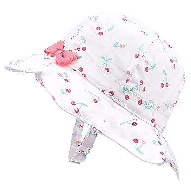 38560a86f2f8a Baby Girls Summer Sun Hat Toddler Kids Spring Lightweight Foldable Cotton  Cap Cherry White