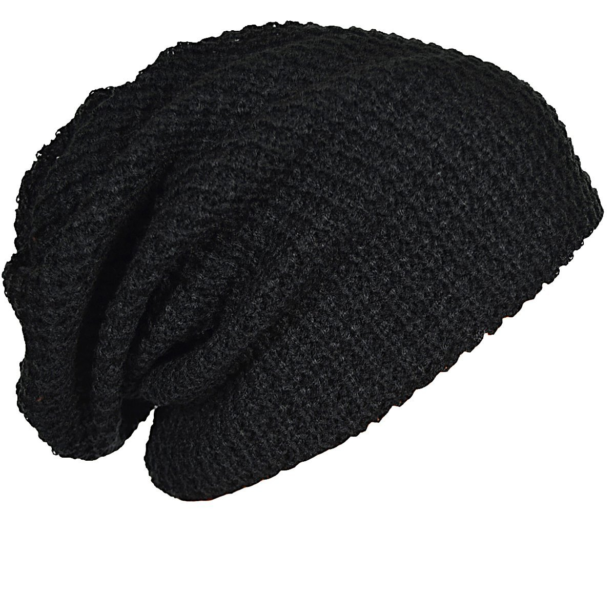 12a33140d1d Mens Slouchy Long Oversized Beanie Knit Cap for Summer Winter (Black)   Amazon.co.uk  Clothing