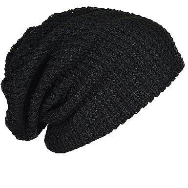 ZS Men s Slouchy Long Knit Beanie Cap (Black b45e6b279d4
