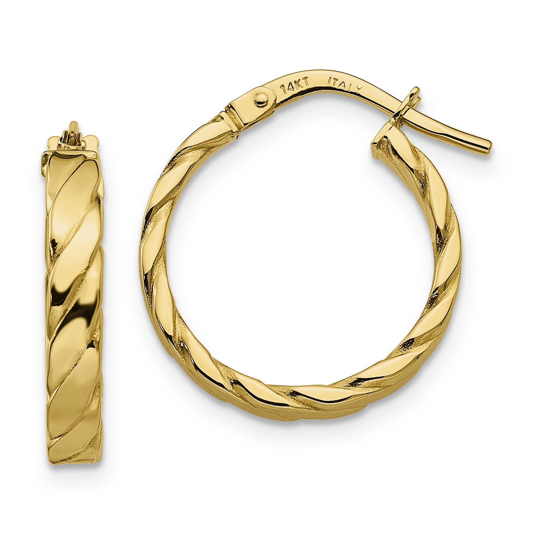 ICE CARATS 14k Yellow Gold Patterned Hoop Earrings Ear Hoops Set Fine Jewelry Gift Set For Women Heart