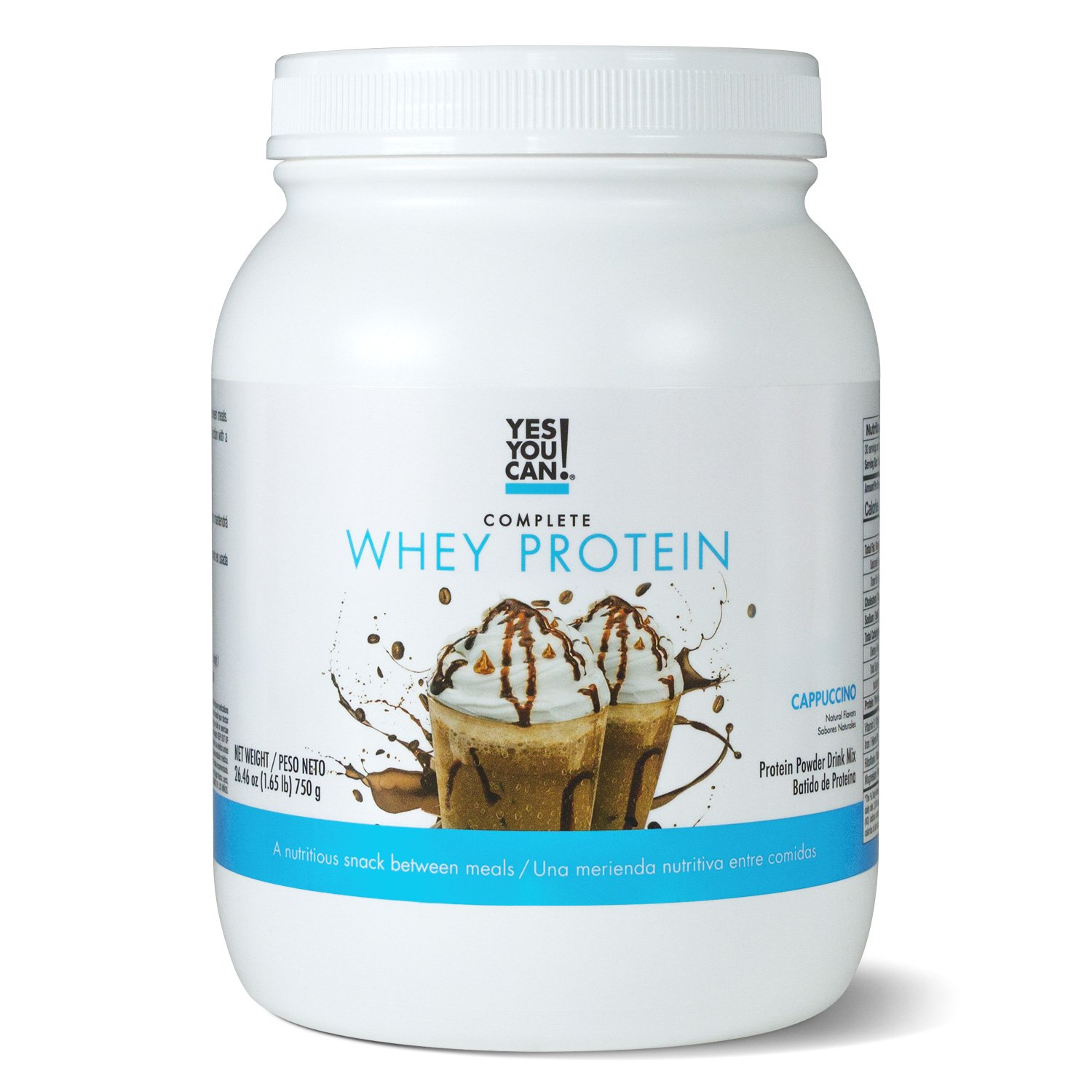 Yes You Can! Complete Whey Protein, a Nutritious Snack Between Meals, 15 Grams of Protein, Helps Lose Weight and Build Muscle, Batidos de Proteína Completo para Bajar de Peso - 1.65 Lb, Cappuccino