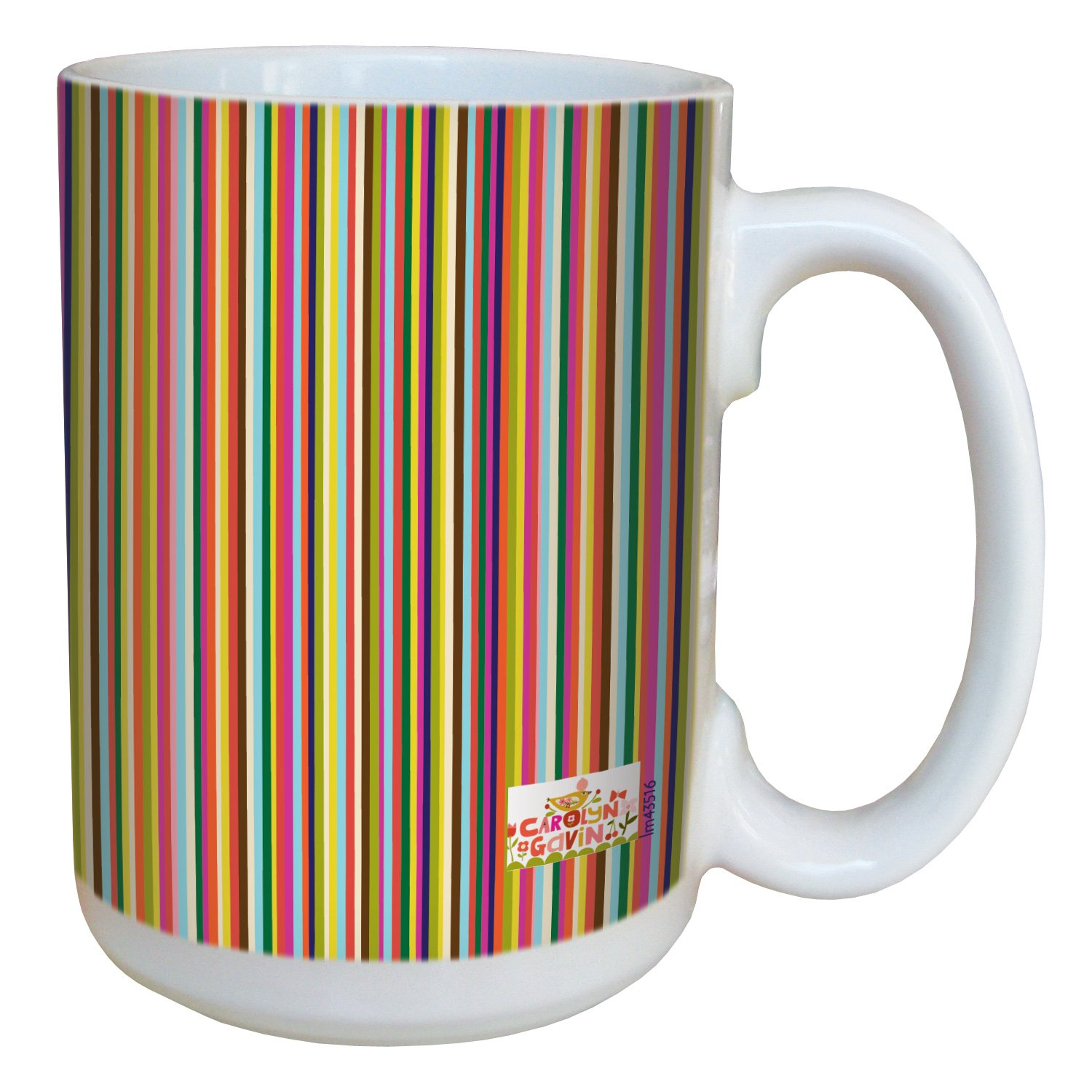 Tree-Free Greetings lm43516 Graphic Candy Stripe by Carolyn Gavin Ceramic Mug with Full-Sized Handle, 15-Ounce