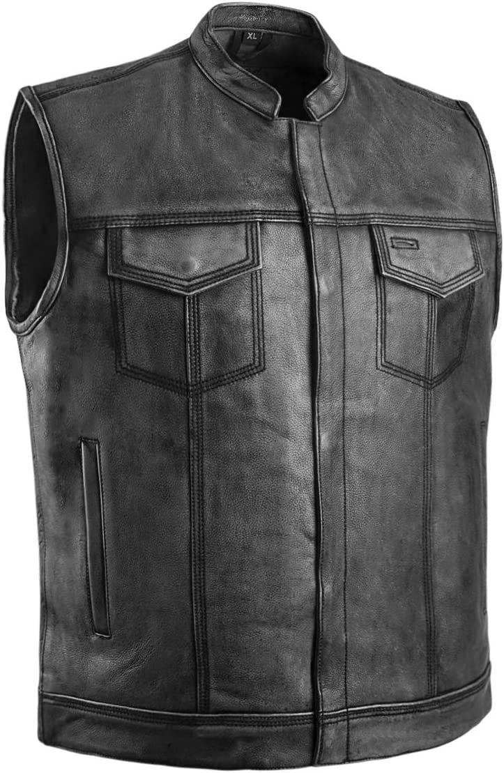 The Nekid Cow | Gray SOA Mens Leather Club Style Vest Distressed Genuine Leather with Concealed Gun Pockets for Motorcycle Riders (M)