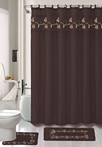 """Kashi Home 15 Piece Shower Curtain Set, Includes Curtain, Hooks and 2 Rugs, 70"""" x 70"""" Floral Draped Leaf Design in Chocolate, Beverly"""