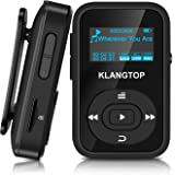 MP3 Player Sport Clip KLANGTOP Bluetooth Mini Music Players 8GB with FM Radio Voice Record 30 Hours Playback, Black