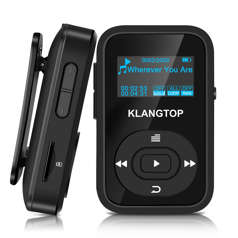 Mini Reproductor de MP3 Sport Bluetooth 4.0 con Clip KLANGTOP Reproductor de Música 8G 30 Horas Reproducción de Grabación FM Radio Walkman Color Pantalla 8GB Bluetooth MP3 Player