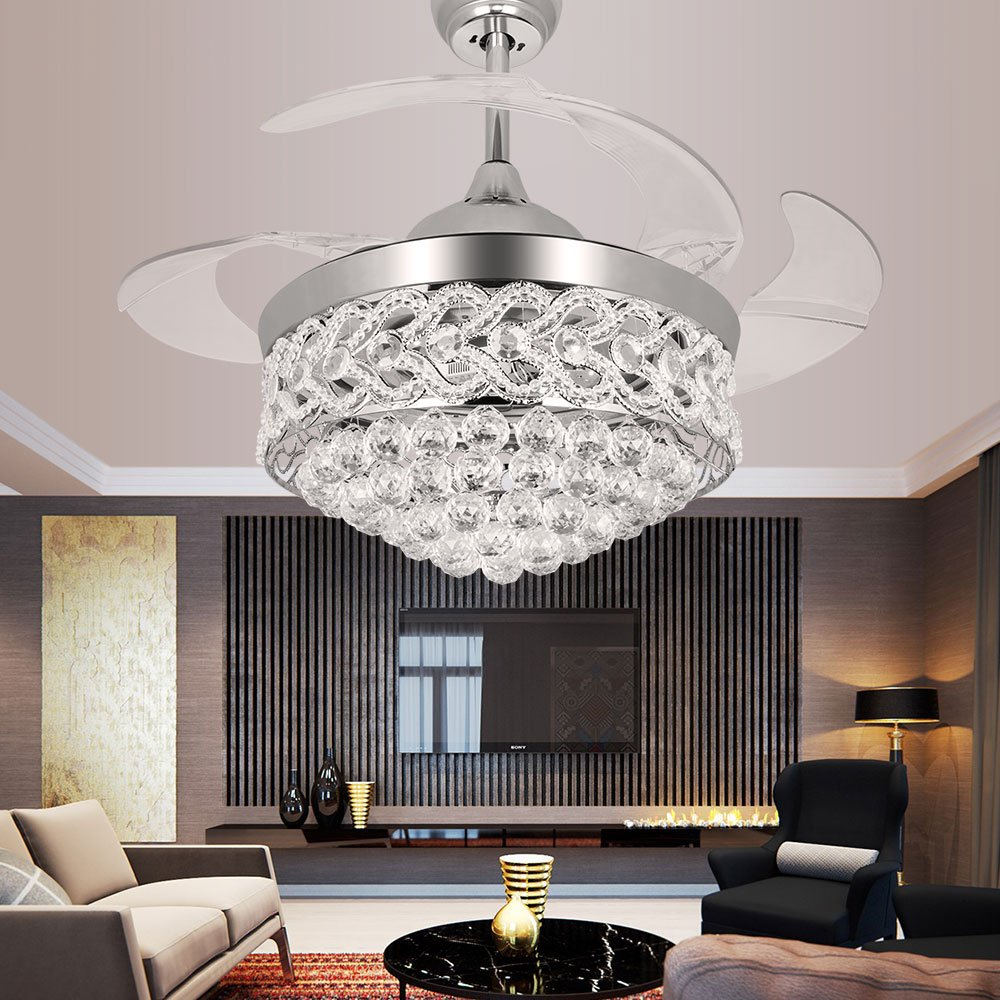 TiptonLight 42 Inch Ceiling Fans with LED Light Kits and Remote Control,Contemporary Golden Crystal Chandelier Ceiling Fan with Plume and 4 Invisible Retractable Blades