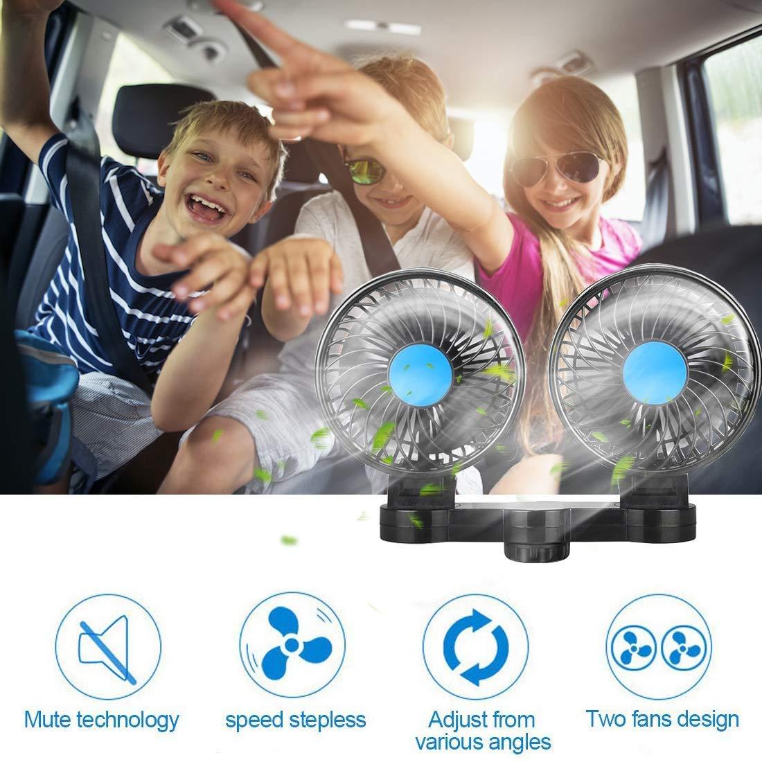 SEAMETAL Car Fan for Back Seat, Car Seat Fan Cigarette Lighter, Fan for Car 12V Headrest Black 4inches (Blue) by SEAMETAL (Image #2)