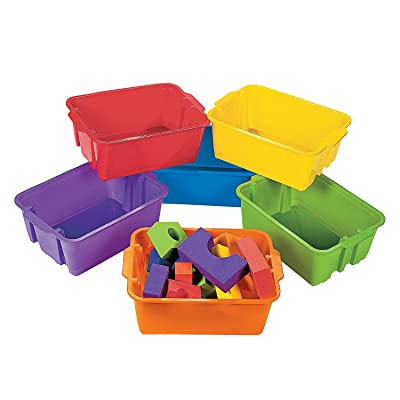 Fun Express Classroom Storage Tubs - 6 Pieces - Educational and Learning Activities for Kids: Toys & Games