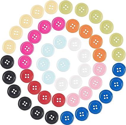 NBEADS Botones de Resina de 200 Pieza, Botones de Costura Botones de 4 Orificio Botones Redondos de 20 mm para Coser Manualidades, Color Mezclado