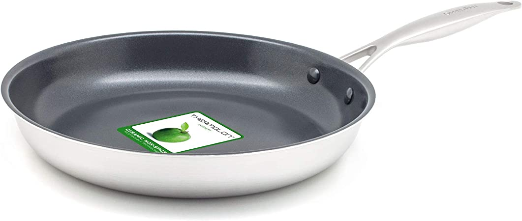 Greenpan Frying Pan Non Stick Stainless Steel Ceramic Pan Induction Oven Dishwasher Safe Cookware 24 Cm Silver Amazon Co Uk Kitchen Home