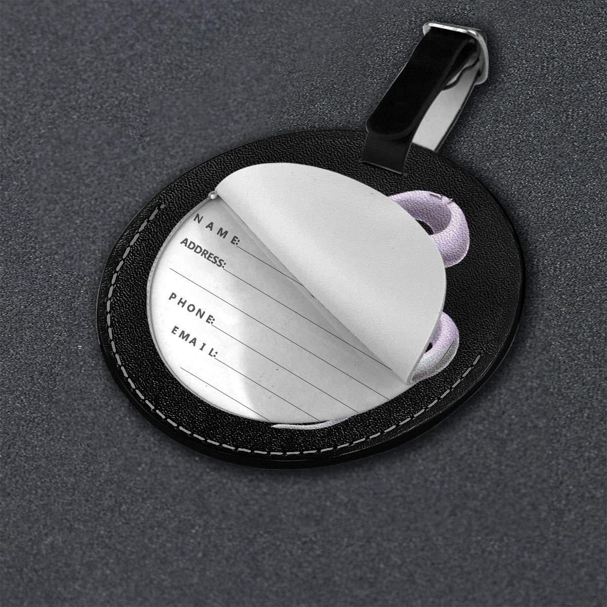 Whitesnake Travel Leather Round Luggage Tags Suitcase Labels Bag