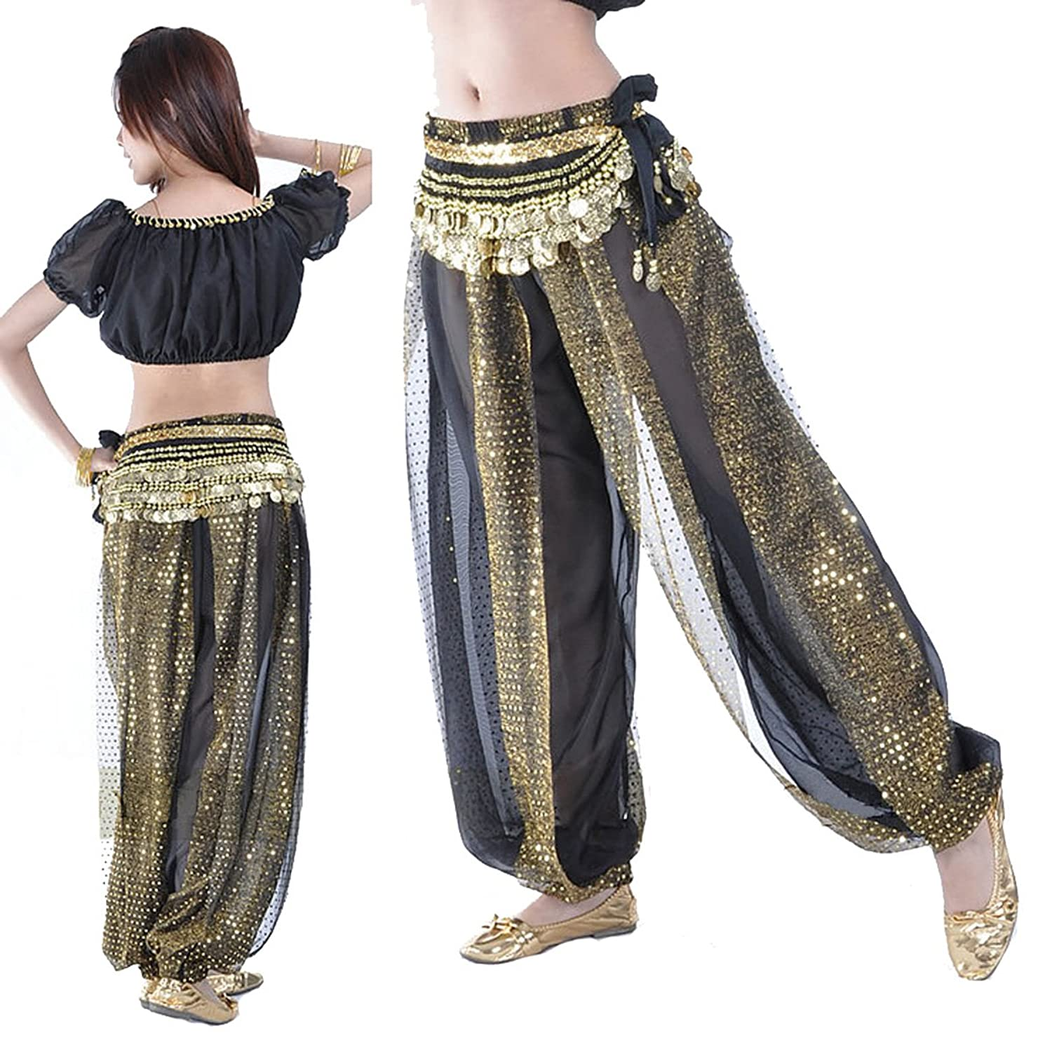 Amazon.com: Belly Indian Dance Performance Clothing (Black Gold): Clothing