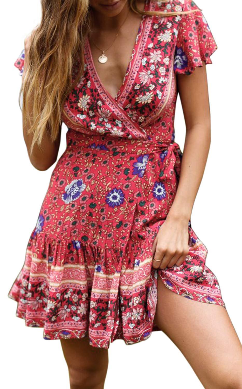 ZESICA Women's Summer Wrap V Neck Bohemian Floral Print Ruffle Swing A Line Beach Mini Dress Red by ZESICA