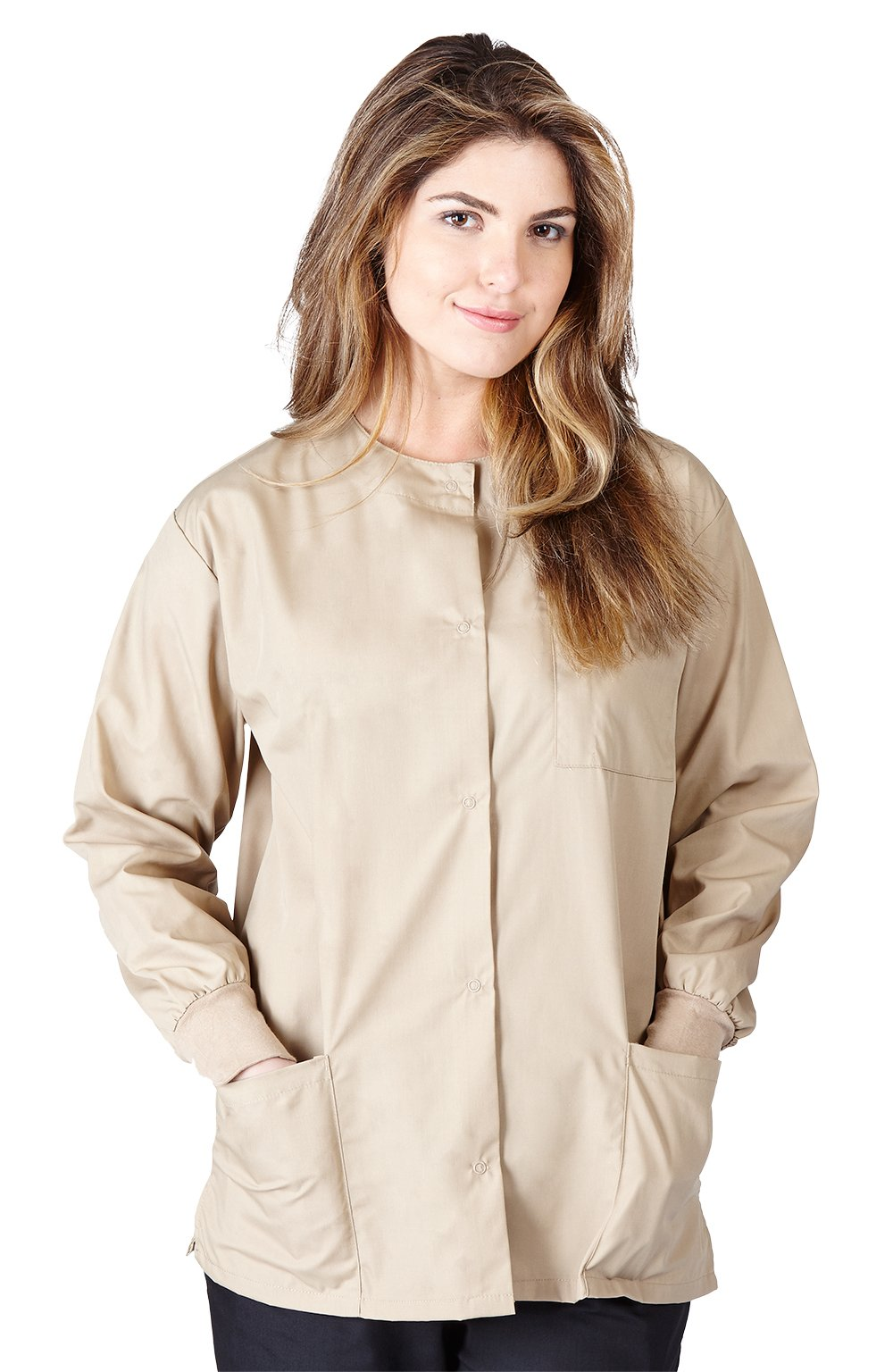 Natural Uniforms Women's Warm Up Jacket (Khaki) (Large) (Plus Sizes Available)