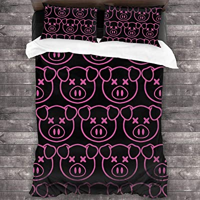 "Sha-ne Da-wsOn Pig 3-Piece Bedding Set 86"" x70 Comforter Quilt Set Twin Size Soft Duvet Cover Set with 1 Quilt Cover 2 Pillow Shams for Teens Boys Girls: Kitchen & Dining"