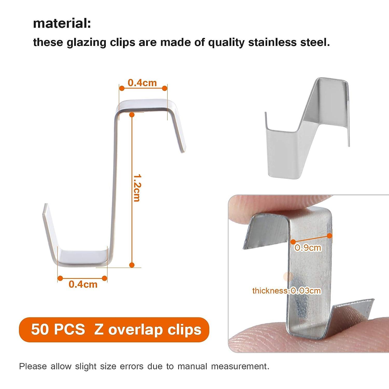 Kit di riparazione per serre 50 clip a Z sovrapposte 50 dadi in alluminio per serra e 50 bulloni in alluminio per serra in alluminio 80 clip per vetri