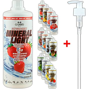 C.P. Sports Mineral Light - Concentrado de bebida de sirope de electrolitos, mineral y vitaminas, varios tipos, incluye dispensador, 1l/1000ml, ...