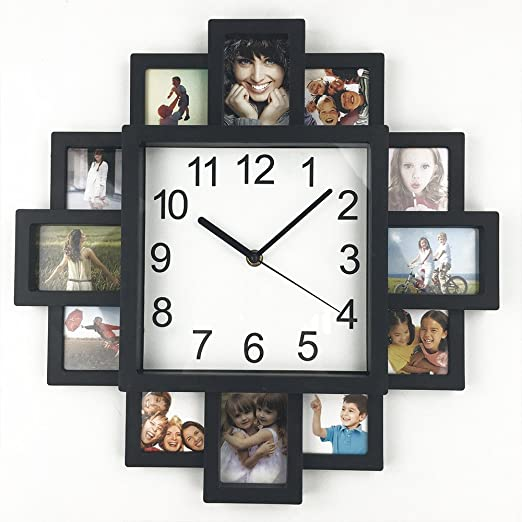 MODERN HANGING 12 MULTI PHOTO PICTURE FRAME /& TIME WALL CLOCK FAMILY COLLAGE FUN