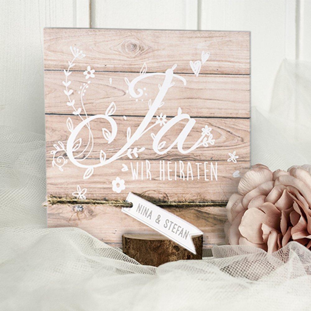 Holz Optik Einladungskarte Fur Die Hochzeit Blanko