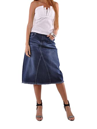 3d9e03d610a91e Style J Country Chic Denim Skirt-Blue-44(24) at Amazon Women's ...