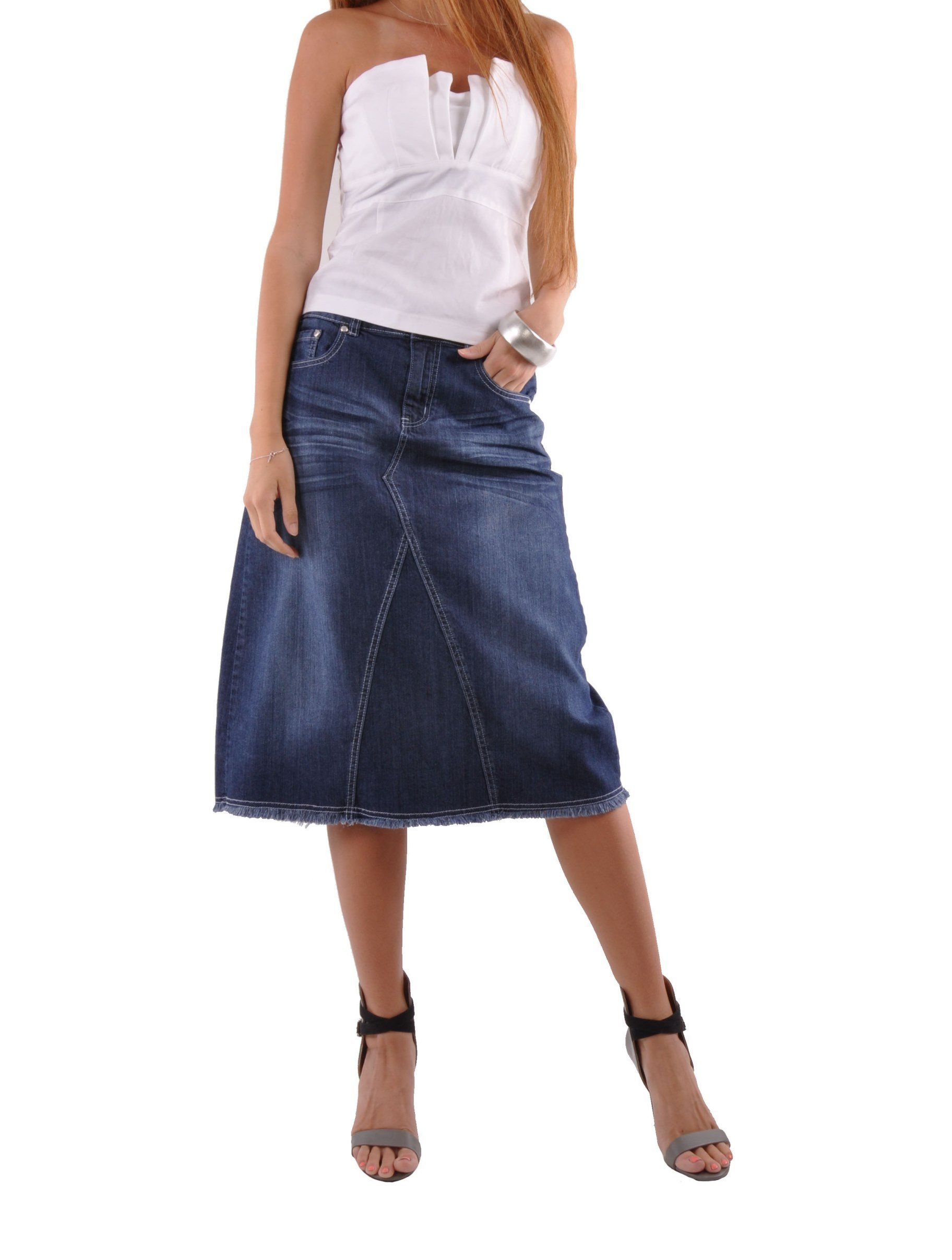 Style J Country Chic Denim Skirt-Blue-28(8)