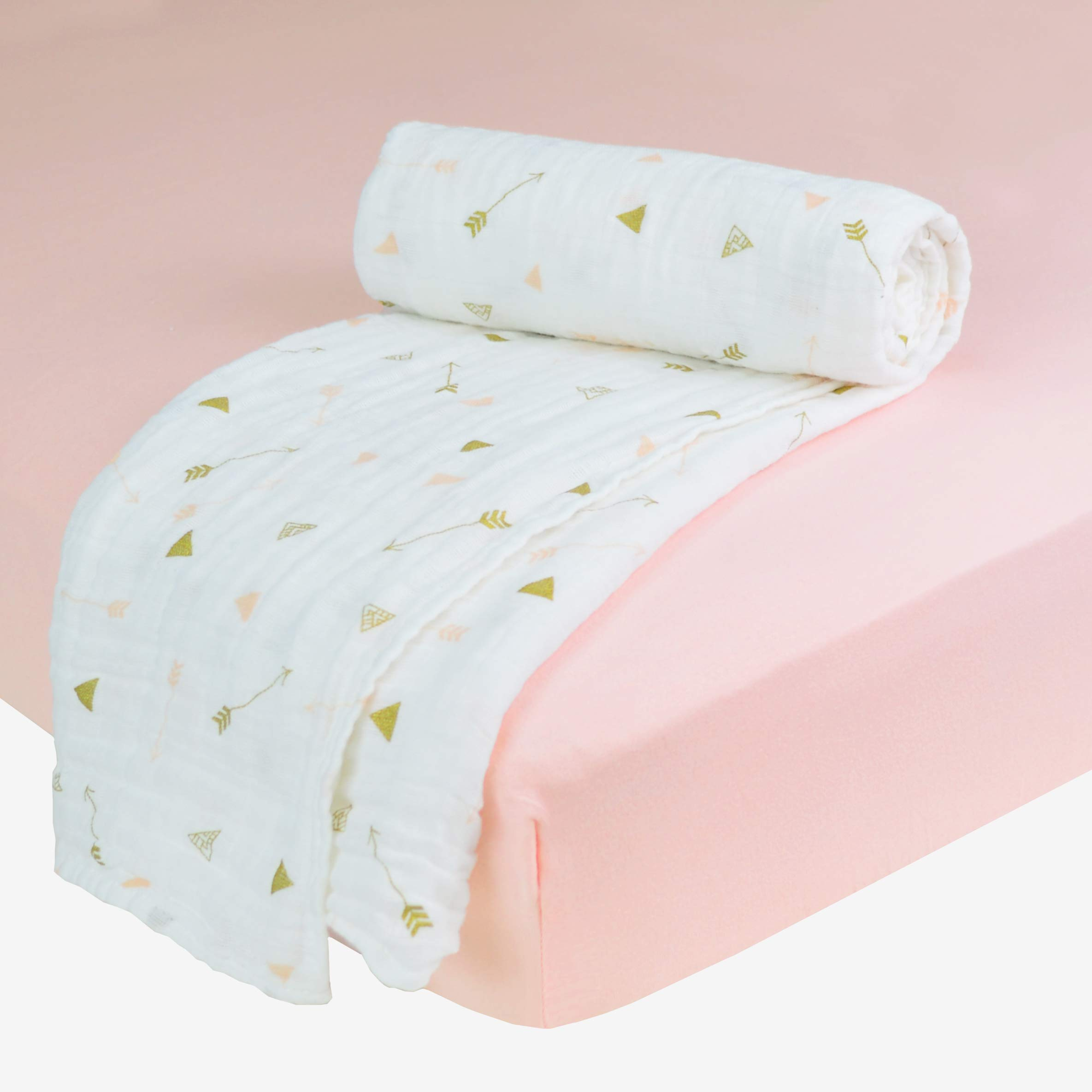 American Baby Company American Baby Company New Baby Welcome Kit with Muslin Cotton Swaddle Blanket and Fitted Pack N Play Playard Sheet, Gold/Pink/Blush