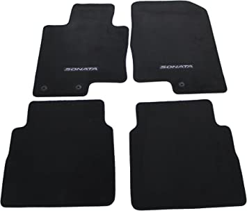 Amazon Com Hyundai Genuine Accessories 3qf14 Ac200ry Black Front And Rear Carpet Floor Mat Sonata Sonata Hybrid Automotive