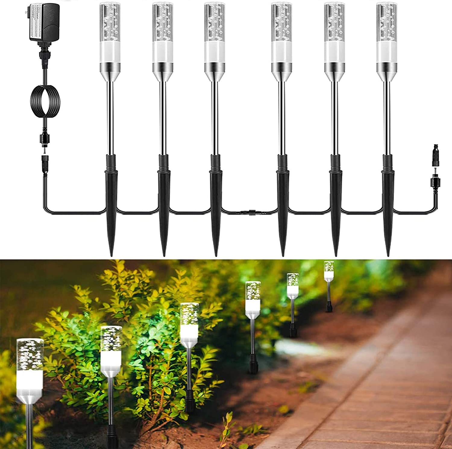 GreenClick Pathway Lights Outdoor, 6 Pack Extendable LED Path Lights Acrylic Bubble Garden Lights 12V Low Voltage Waterproof Landscape Lighting Cold White for Lawn Yard Walkway Driveway, 6000K