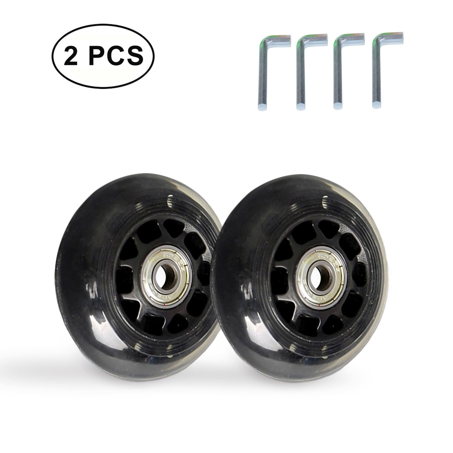 B.LeekS RollerbladeSkate Wheel Replacements, Kick Scooter Replacement Wheels with Bearings, One Set of (2) Wheels, Multiple Sizes & Colors with LED Illuminating Lights (Black, 80mm)