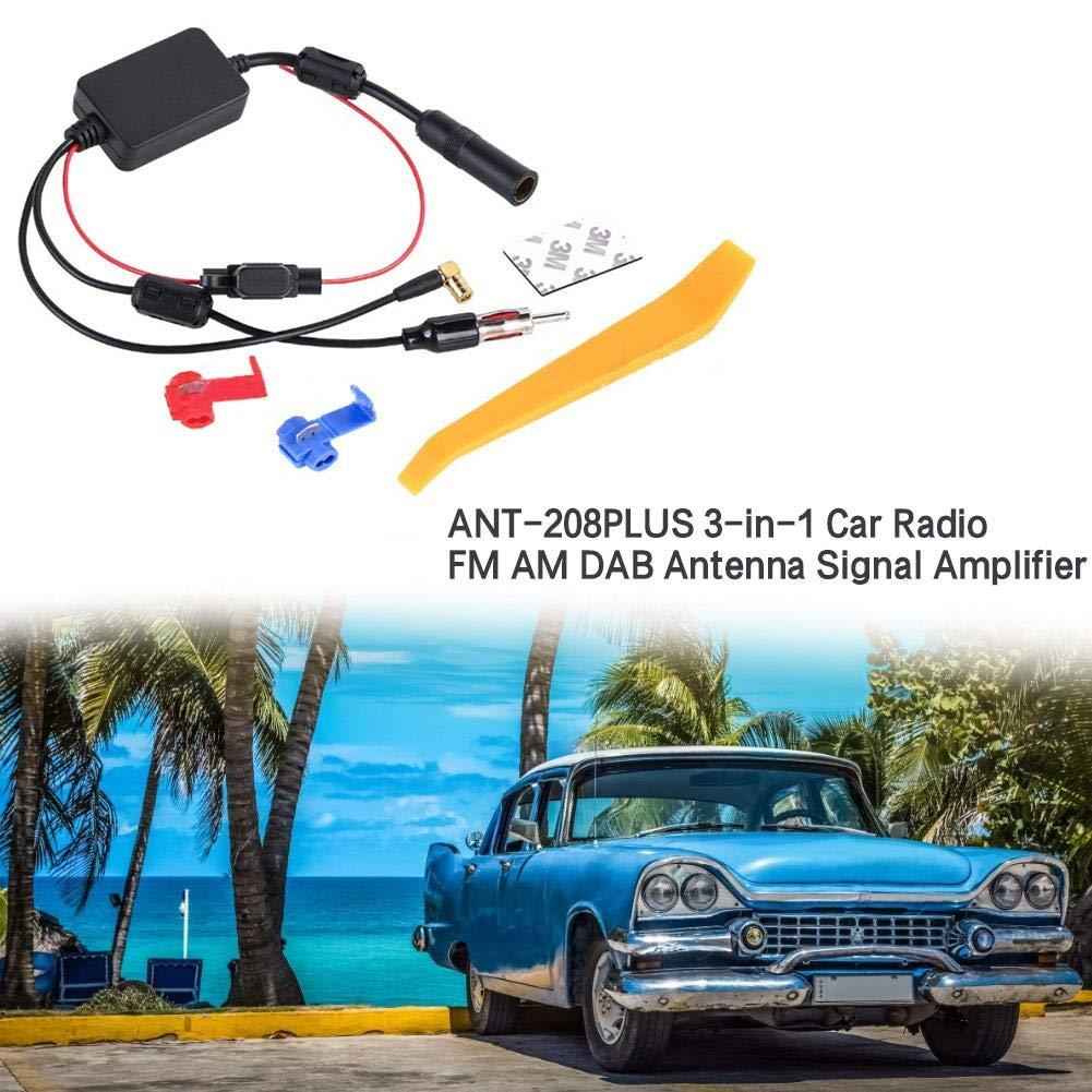 succeedw Amplificatore di Segnale per Antenna FM AM Dab Amplificatore Antenna per Auto Universale autoradio