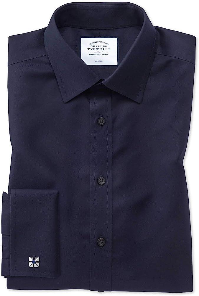 Charles Tyrwhitt Camisa Azul Marino de Sarga Extra Slim fit con Cuello Italiano: Amazon.es: Ropa y accesorios