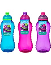 3 Sistema 330ml Twist n Sip Drink Bottles, Blue, Pink, Purple