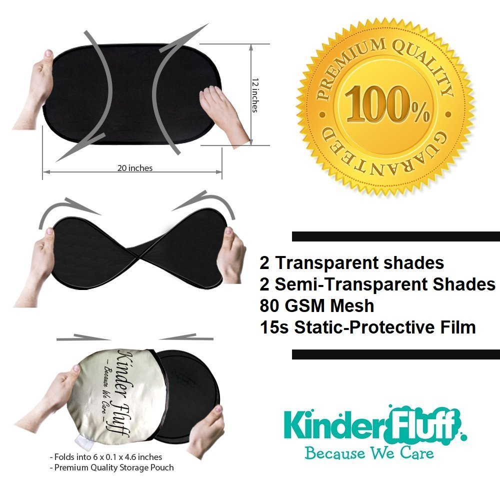 4px Kinder Fluff Car Sun shade highest possible for full UV protection-2 Transparent and 2 Semi-Transparent Sunshades -80 GSM with 15s Film