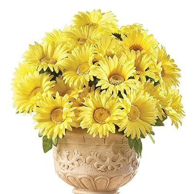 Floral Gerbera Daisy Artificial Maintenance-Free Flower Bush - Set of 3, Yellow : Garden & Outdoor