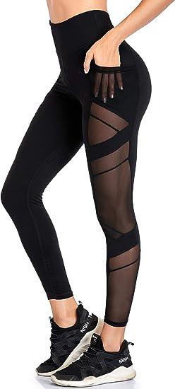 Women/'s Mesh High Waist Tummy Control Leggings Skinny Workout Yoga Pants