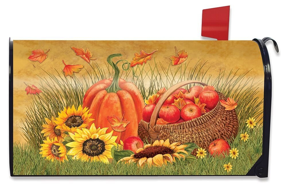 Briarwood Lane Pumpkin And Apples Autumn Magnetic Mailbox Cover Sunflowers Fall Standard