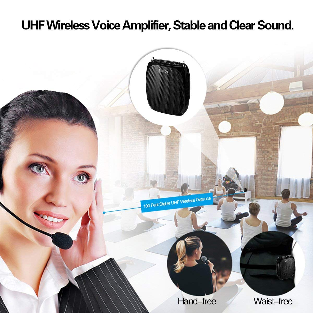 Wireless Voice Amplifier with UHF Microphone headset 10W Portable Loud Speaker Clear Sound for Teaching, Singing, Presentations, Tour, Speech and More, Black by SHIDU